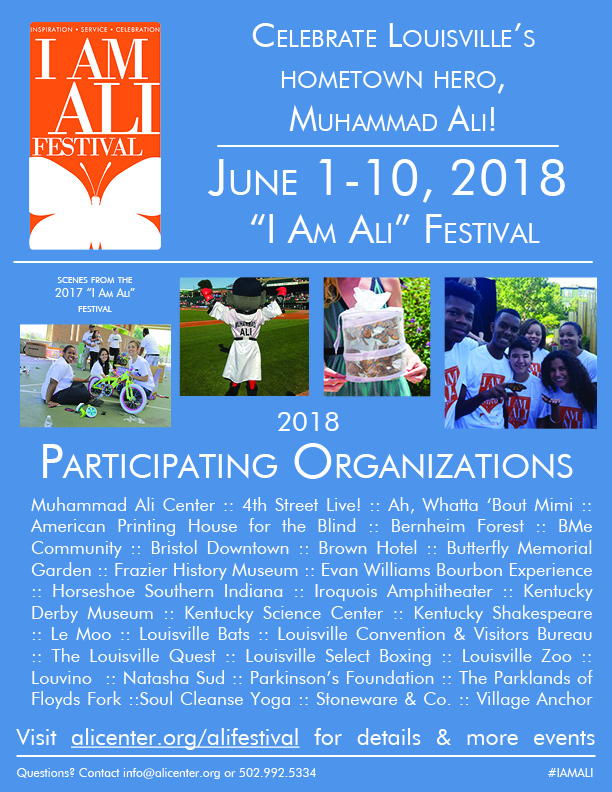 I am Ali festival flyer listing participating organizations