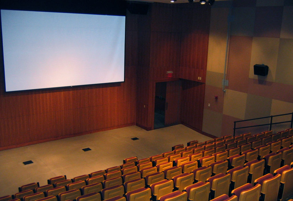Auditorium seating with screen