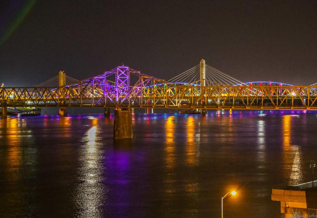 View of Ohio River bridges at night
